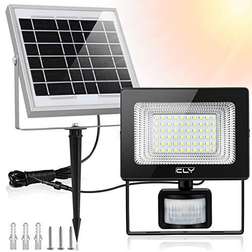 Luce Solare da Esterno,CLY Faretto Solare con Sensore di Movimento 60 LED, Faro Pannello Solari Impermeabile(IP66), Lampada Solare da Esterno con Sensore, 6000K Bianco per Giardino