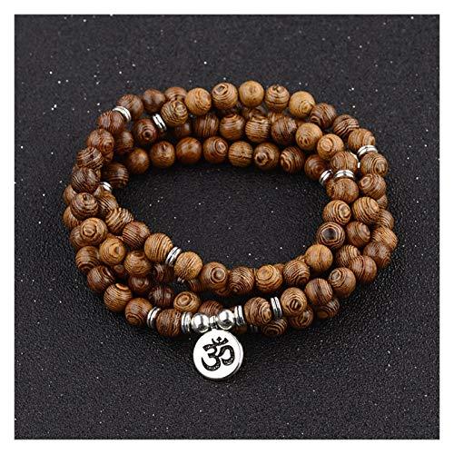 HUIJUNWENTI Multilayer 108 Beads de Madera Pulsera de Loto Buddista Tibetano Mala Buda Buda Charm Rosario Pulsera Yoga de Madera para Mujeres Hombres Joyería (Color : OM)
