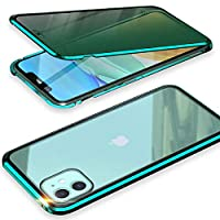 【Risukai】 iPhone11Pro ケース オールスカイケース グリーンディスプレイ ブルーライトカット仕様 ミッドナイトグリーン マグネットケース 前面覗き見防止ガラス 背面強化ガラス アルミバンパー 【前後ガラス+ブルーライトカット】 スマホケース 360°全面保護 ワイヤレス充電 顔認証 対応