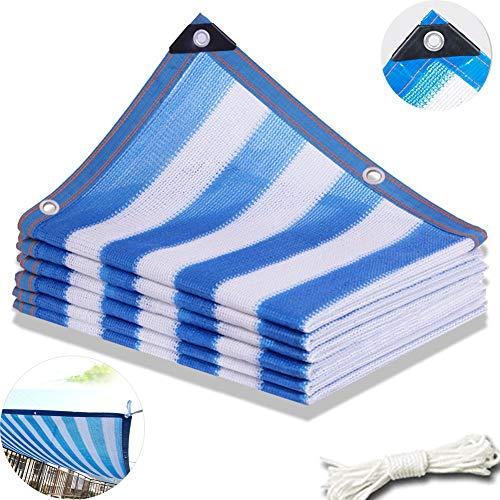 YYQ 3x3m/10x10ft 3X5m/10x16ft Sunblock Shade Cloth Net Cover Foldable Sun Net Blue-White Tarp Fabric Mesh Screen,for Swimming Pool Succulents Terrace,Taped Edge