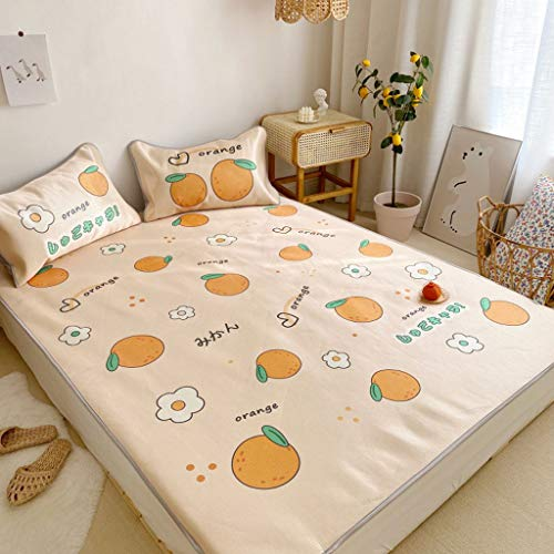 CPPI-1 Ice Silk Mat Summer Mat Ice Silk, Air-conditioned Sleeping Cushion Mattress Cute Used for 0.9~1.8m bed, Love pink -Cartoon little whale -Dinosaur beige -Small orange-