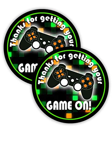 POP parties Gaming Green Party Favor Stickers - 40 Favor Bag Stickers - Gaming Party Thank You Tag - Video Game Party Supplies - Game Truck Party Decorations - Green Stickers