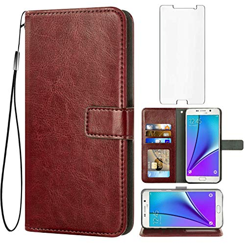 Asuwish Compatible with Samsung Galaxy Note 5 Wallet Case Tempered Glass Screen Protector Flip Cover Card Holder Stand Accessories Phone Cases for Glaxay Note5 Gaxaly Notes 5s Five Women Men Brown