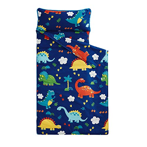 Wake In Cloud - Nap Mat with Removable Pillow for Kids Toddler Boys Girls Daycare Preschool Kindergarten Sleeping Bag, Dinosaurs Printed on Navy Blue, 100% Cotton with Microfiber Fill (55