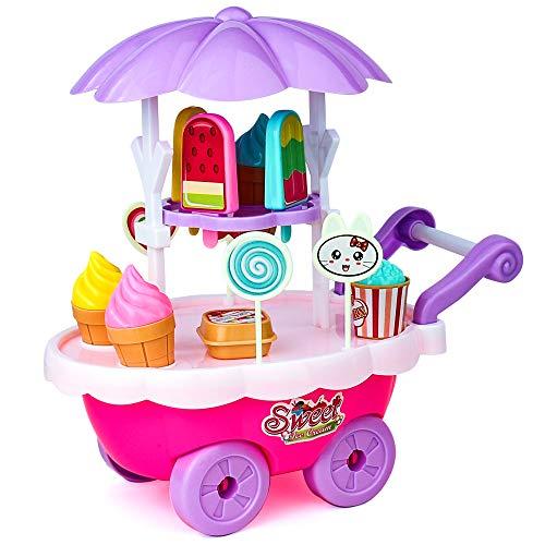 yoptote Gelateria Giocattolo, Carretto Gelati Carrello Spesa Giocattolo Giochi Cucina Bambini Set Accessori Cibo Giocattolo per Bambini 3 4 5 Anni