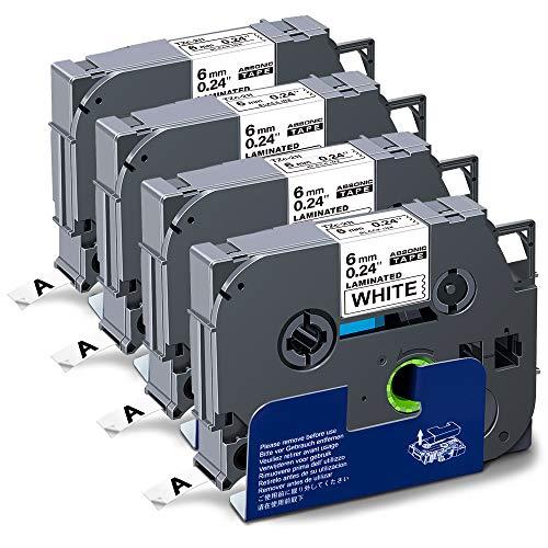 "Absonic Compatible Label Tape Replacement for Brother Tze-211 Tze 211 Tz-211 Tze 211 Tz 6mm 0.23"" Laminated Black on White Label Maker Tape for PT-D210 PT-H110 PT-D400 PT-D400AD, 1/4"" x 26.2', 4-Pack"