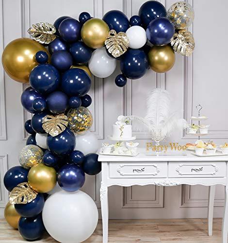 PartyWoo Kit Arco Palloncino Blu e Oro, 67 Pezzi di 5 Foglie d'oro, Palloncino Oro Gigante, Palloncino Bianco Gigante, Palloncini Blu Navy, Palloncini Coriandoli Oro Bianco, Palloncini Metallici Oro