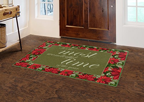 Brumlow Mills Most Most Wonderful Time Christmas Kitchen And Entryway Holiday Rug, 2'6' x 3'10'