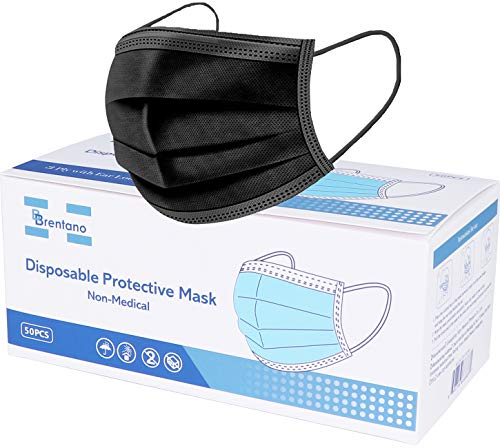 B BRENTANO Non-Medical Personal Protective Equipment Disposable Face Mask (Adult, Black)