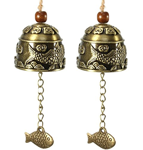SWTOOL Selling Wonderful 2PCS Chinese Traditional Feng Shui Wind Chime - Vintage Style Fish Feng Shui Bell For Good Luck Blessing Fortune Home Car Crafts Hanging Decoration Gift