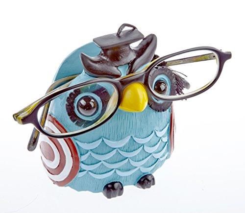 By-Bers Brillenhalter Eule Uhu, Türkis, handbemalt, lustig, Nicht nur für Kinder, auch für Erwachsene
