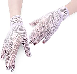 3 Pair Fishnet Gloves 80's Custome Accessories for Women Bridal Wedding Gloves Party Fancy Costumes (Color : White)