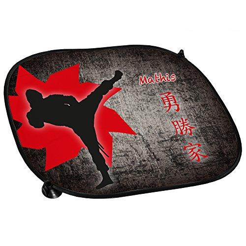 Auto-Sonnenschutz mit Namen Mathis und schönem Ninja-Motiv für Jungs - Auto-Blendschutz - Sonnenblende - Sichtschutz