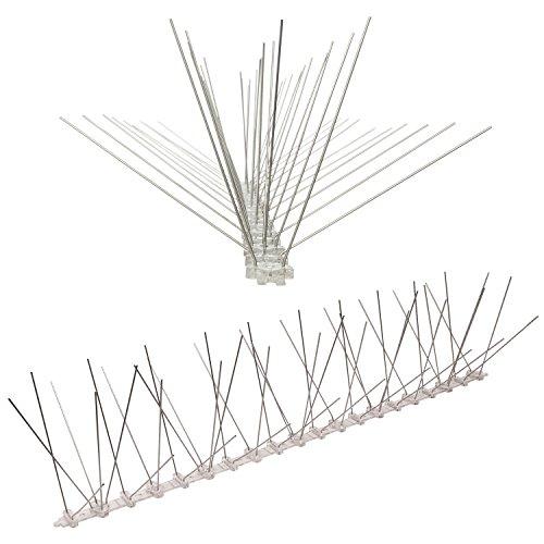 Pestsystems - Sistema de Calidad para Evitar a los pájaros, de policarbonato, Pinchos para Evitar Palomas, 50 x 6 x 12 cm, Plateado, 1 m