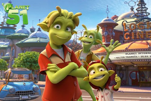 HUGE LAMINATED / ENCAPSULATED Animation Cartoon Planet 51 Cinema POSTER measures 36 x 24 inches (91.5 x 61cm)