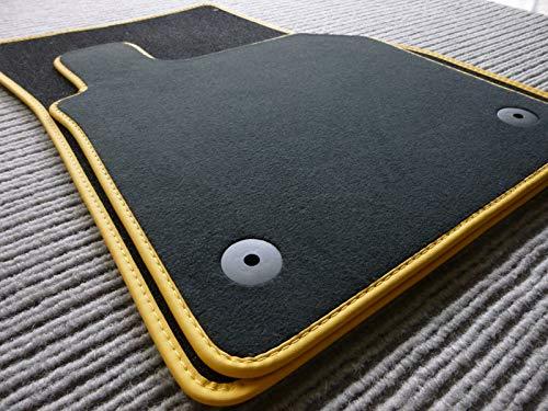 Favorit Fußmatte für 986 (Boxster 2-TLG.) ab 97-06.04 Velours Automatte Original Qualität mit gelber Echtledereinfassung