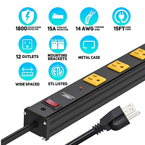 CRST Heavy Duty Surge Protector Power Strip Wide Spaced 12-Outlet 15 Feet Long Extension Cord with Mounting Brackets 15A Circuit Breaker 1800 Joules 7