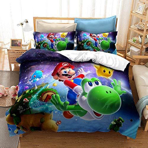 RITIOA Juego de ropa de cama con impresión 3D de Super Mario, funda nórdica y funda de almohada de microfibra, impresión digital 3D, juego de cama A12, doble 200 x 200 cm, 3 piezas