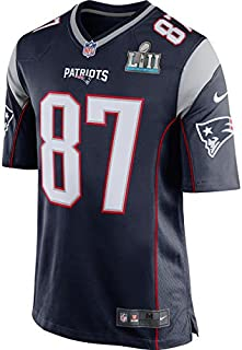 Rob Gronkowski Unsigned New England Patriots Super Bowl LII 52 Blue Nike Jersey Size XL