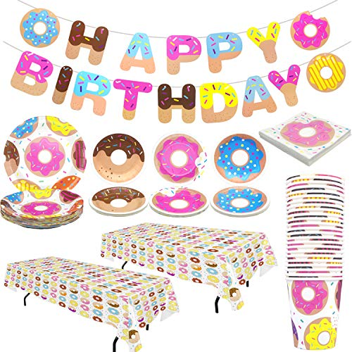 Pandecor Donut Party Supplies - Serves 24 Guests - 99 Pieces Donut Party Disposable Tableware,Includes Happy Birthday Banner Tablecover Napkins 9 Inch Plates 7 Inch Plates and Cups