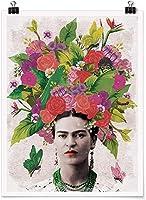 頭のポスターウォールアートピクチャーHDの花と蝶とフリーダ・カーロの絵画美しい女性の肖像画キャンバスプリントホームデコレーション、フレームレス,60×80cm