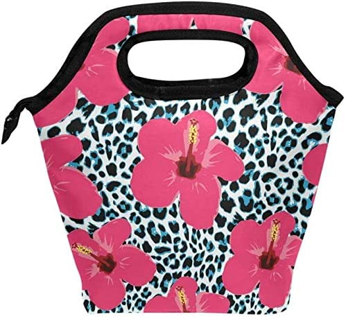 Tropical Hibiscus Flowers And LeopardLunch bag heat insulation l