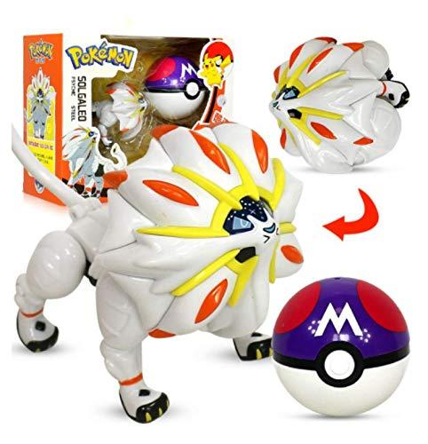 Klycbds Süße Pokemon Pikachu Figur Solgaleo Spielzeug, Modell Pocket Elf Ball Manuelle Verformung Roboter Elf Kinder Set