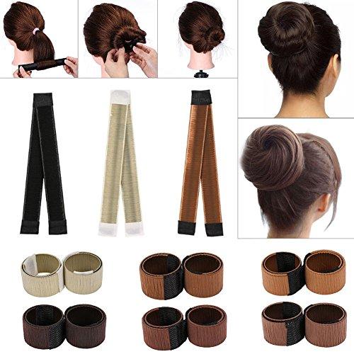 Chignon de cheveux Maker, 6 pcs Magic DIY Snap Chignon de cheveux qui bigoudi Roller Outil Ponitail support Mode Bun Shaper pour femme Filles Enfants