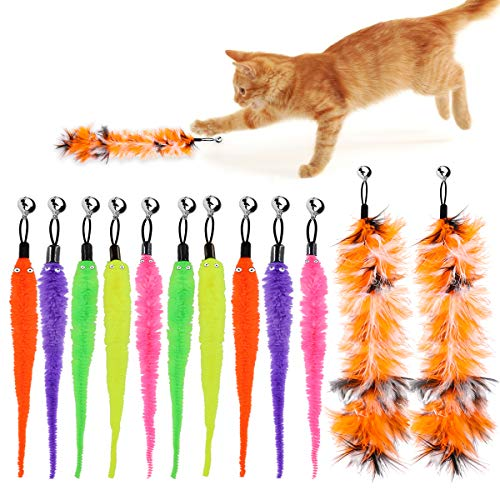 HRP 12 Stück Katze Wurm Teaser und Exerciser,Teaser Nachfüllungen Spielzeug Katze Winkel Ersatz für Kätzchen Katze Wand