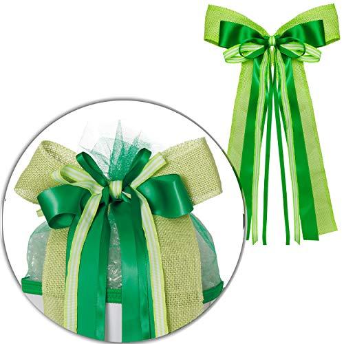 alles-meine.de GmbH große 3D Effekt - Schleife - für Schultüte - grün / hellgrün & dunkelgrün - 24 cm breit u. 60 cm lang - mit edlen Satin Bändern + Bastband + Tüllband - für Ge..