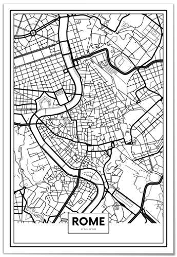 Panorama Póster Mapa de Roma 21 x 30 cm - Impreso en Papel 250gr - Póster Pared - Cuadros Decoración Salón - Cuadros para Dormitorio - Póster Decorativos - Cuadros Modernos