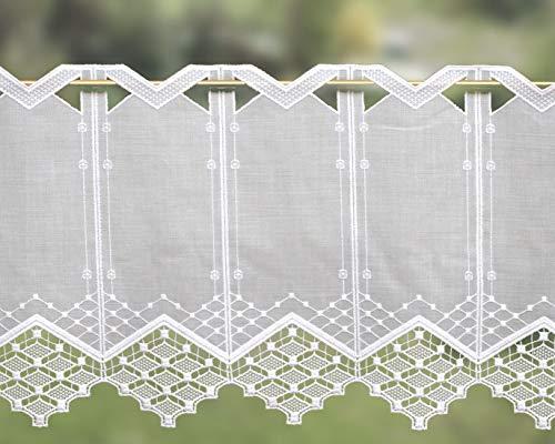 Zauberhafte Scheibengardine mit Spitze Landhausstil 30 oder 45 cm hoch Farbe:weiß - ideal für kleine Fenster (30x75 cm)