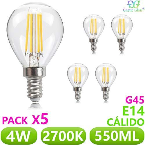 Bombilla LED Vintage Filamento 4W E14 G45 GNETIC GLASS 550LM 2700K Luz Blanca Cálida 77X45 mm 30000h 340° Equivalente a 50W en incandescencia Cristal Edison [Eficiencia energética A++]