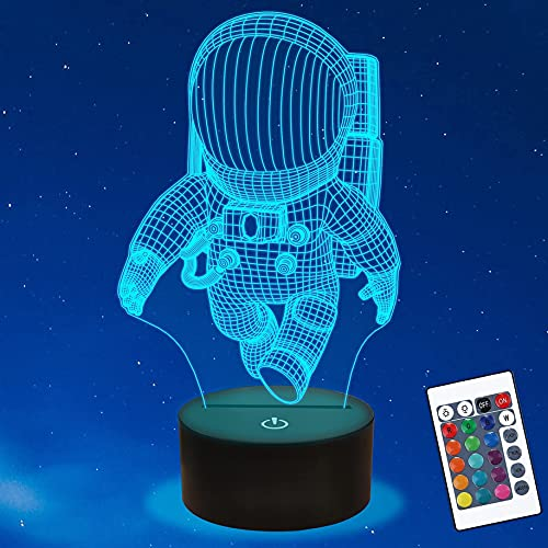 Astronaut 3D Lamp Space Man Night Light 3D Illusion lamp for Kids, 16 Colors Changing, Kids Bedroom Decor as Holiday Birthday Gifts