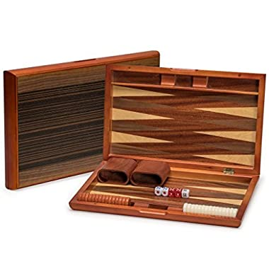 Yellow Mountain Imports Backgammon Game Set with Wood Inlay Board and Accessories, 15 Inches