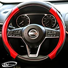 DSV Standard | Red Leather Car Steering Wheel Cover |Breathable, Anti - Slip Odorless | Warm in Winter and Cool in Summer | Genuine Leather Steering Wheel Cover 15 Inches (37cm to 39 cm)