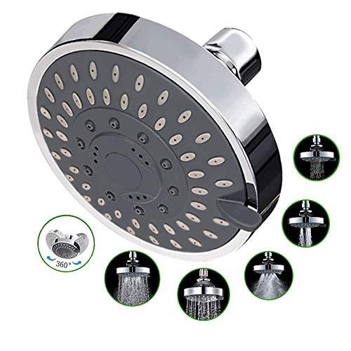 MEETYOO Soffione doccia a pioggia ad alta pressione alta portata risparmio dell'acqua Potenti 5 Impostazioni Spray parete Filtrato per Bagno