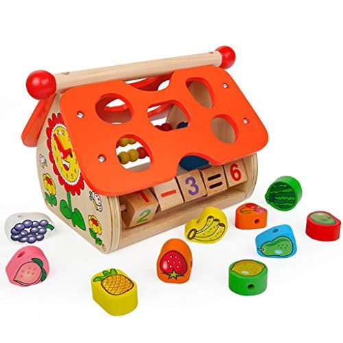 Jeux de construction pour enfants jouets en forme de fruits correspondant à des jouets de construction pour enfants de plus de 12 mois Petite enfance Boîte à jouets éducative en bois multifonctionne