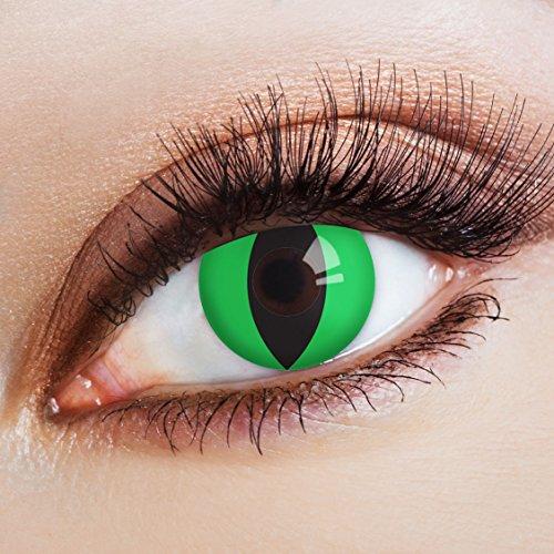 aricona Kontaktlinsen - Grüne Kontaktlinsen Motivlinsen Katzenaugen - bunte farbige Kontaktlinsen ohne Stärke für Karneval, Fasching, und Kostüm-Partys, 2 Stück