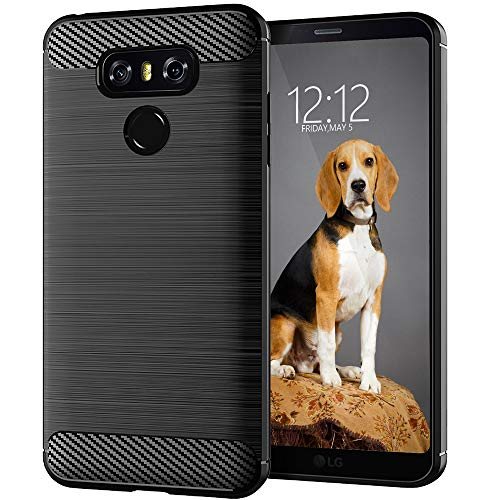 KEEPCA Compatible with LG G6 Cases,LG G6 Plus Phone Case,Slim Thin Flexible TPU Soft Skin Silicone Anti-Scratch Shockproof Protective Cover for LG G6,Brushed Black
