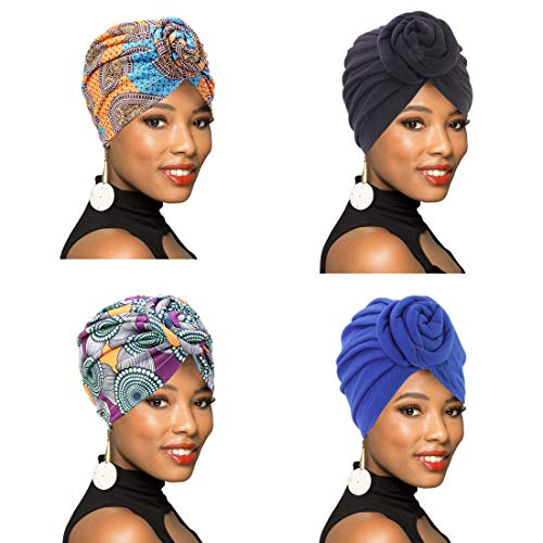 1Pack/2Packs/4Packs Women Turban African Pattern Knot Headwrap Beanie Pre-Tied Bonnet Chemo Cap Hair Loss Hat