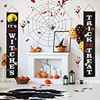2-Pieces Aitsite Halloween Decoration Banner Set with Trick or Treat & It's October Witches Signs for Front Door, Porch, Indoor, Home Decor