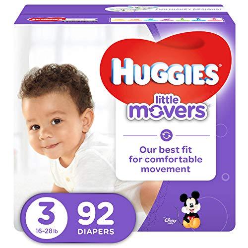 Huggies Little Movers Pañales, tamaño 3 (17-20 libras), 92 unidades (embalaje puede variar), pañales para bebés activos