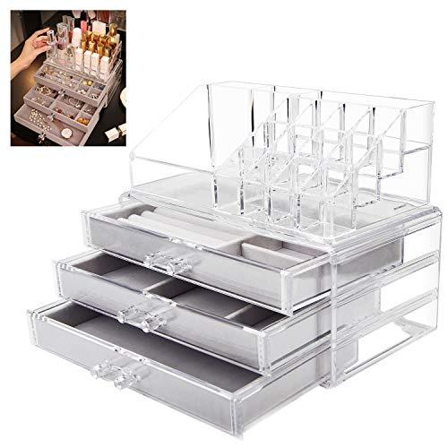 SWAWIS Schmuckschatulle mit 3 Schubladen, Schmuckbox + Lippenstift Organizer, Klarer Acryl Schmuckkästchen Damen & Mädchen für Ringohrring Armreif und Halskette