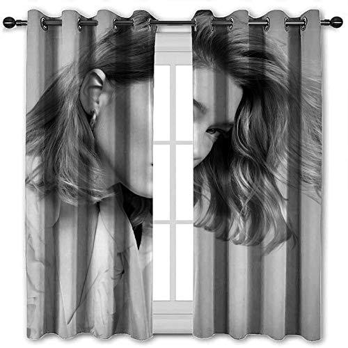 SSKJTC Cortinas cortas, sin tiempo para entretenimiento semanal, cortinas para dormitorio (140 x 160 cm)