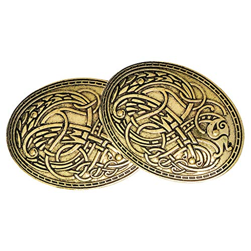 LoveinDIY 2Pcs Viking Shield Brooches, Wolf Totem Clothes Fasteners - Cloak, Shawl, Scarf Pin, Celtic Norse Lapel Pin Vintage Jewelry Gold