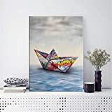 Cuadros decorativos Lienzo de barco de Origami de papel artístico de Graffiti para pintar carteles e impresiones imágenes artísticas de pared para decoración del hogar y la sala de estar 50x70 cm