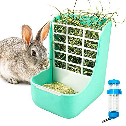 Comedero automático 2 en 1 para conejos, heno, cerdo, accesorio para conejos, comedero para cobayas, hierba y pienso, con botella para roedores, para conejos, cobayas, chinchillas, hámsters (verde)