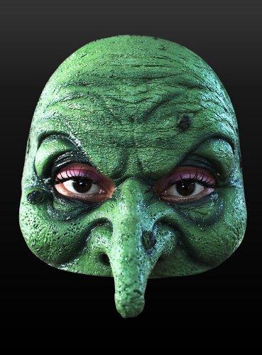 Grüne Hexe Maske - Erwachsenen Horror Kostüm Maske - ideal für Halloween, Karneval, Motto-Party & Grusel-Events
