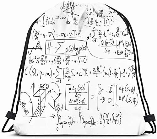 DHNKW Drawstring Backpack String Bag 14X16 Equation Complex Math Formulas Exam On Whiteboard Mathematics Education Algebra Complicated Problem Calculus Sport Gym Sackpack Hiking Yoga Travel Beach